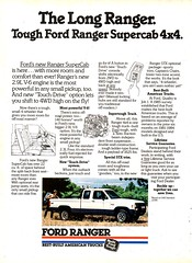 1986 Ford Ranger Supercab 4X4 Pickup Truck Page 1 USA Original Magazine Advertisement (Darren Marlow) Tags: 1 6 8 9 19 86 1986 f ford r ranger s supercab p pickup t truck c car cool collectible collectors classic a automobile v vehicle u us usa united states merican america 80s