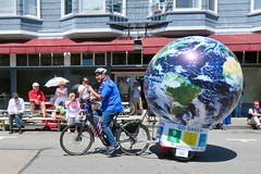 Earth Bike at the Fourth of July Parade (fabola) Tags: art bike clean climate activist cleantransportation artfloat life green electric design community earth marin politics parade fabrice environment sustainable sustainability larkspur cortemadera ebike electricbike newwheel climateaction greenchange earthbike makerart climateartexhibit transportation