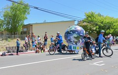 Earth Bike at the Fourth of July Parade (fabola) Tags: art bike clean climate activist cleantransportation climateaction artfloat climateartexhibit life green electric design community earth marin politics parade fabrice transportation environment sustainable sustainability larkspur cortemadera ebike electricbike newwheel greenchange earthbike makerart