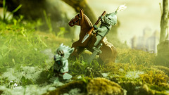 The hunt (The Aphol) Tags: lego legography legophotography toy toyphotographers toyphotography castle legocastle knight hunt medieval forest moss fog winter hunter chima wolf horse animal rider