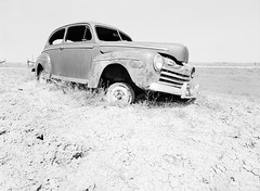 Old Ford (LarsHolte) Tags: pentax 645 pentax645 645n 6x45 smcpentaxa 35mm f35 120 film 120film analog analogue kosmo foto mono 100iso mediumformat blackandwhite classicblackwhite bw monochrome filmforever filmphotography aph09 rodinal ishootfilm larsholte homeprocessing usa southdakota scenic highway sd44 car wreck explored