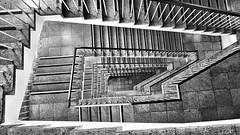 With corners and edges (ANBerlin [Ondré]) Tags: symmetrie symmetry ausergewöhnlich extraordinary kontrast contrast abstrakt abstract struktur structure innen indoor inside langenachtderwissenschaften lndw19 lndw licht lights linien lines schatten shadow geländer handrail spirale spiral treppenauge treppenschnecke snailstaircase stairway treppenhaus staircase stairwell treppe stairs einfarbig monochrome biancoenero noiretblanc schwarzweis blackwhite sw bw bauwerk building architektur architecture technischeuniversität technicaluniversity tuberlin deutschland germany berlin charlottenburg strasedes17juni anb030 shotoniphone iphotography iphonography 8plus iphone8 iphone apple