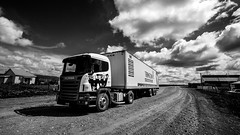 Truck, Patagonia, Chile (pas le matin) Tags: travel voyage patagonie patagonia truck camion track road route piste chili chile latinamerica southamerica landscape paysage sky clouds ciel nuages canon 5d canon5d canon5dmkiii canoneos5dmkiii eos5dmkiii 5dmkiii bw nb blackandwhite noiretblanc monochrome