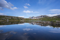 Rago National Park, Norway (StarCitizen) Tags: norway lake mountains reflection sky sunny water clouds