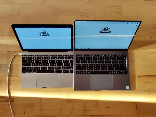 Macbook 12 vs Huawei Matebook 13 Pro dimension / sizes comparison
