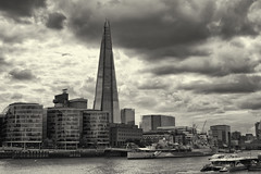 The Shard - London, England (fisherbray) Tags: fisherbray uk unitedkingdom england london greatbritain nikon d5600 towerbridge riverthames bridge londonburoughoftowerhamlets towerhamlets londonboroughofsouthwark southwark theshard skyscraper monochrome bw silverefexpro