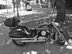 Daystar (metrogogo) Tags: daystar motorbike birmingham outside bw