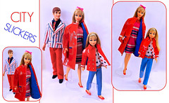 CITY SLICKERS (ModBarbieLover) Tags: barbie doll ken skipper mod fashion red patent 1967 1968 1970 white blue city slickers mattel toy coat suit
