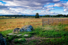 Peaceful afternoon at Gettysburg (FotoFloridian) Tags: gettysburg battlefield monument nature landscape grass ruralscene outdoors scenics meadow fence sky cloudsky summer tree blue pasture farm field greencolor agriculture stone sony alpha a6000