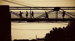 The Old Footbridge (Jon Scherff) Tags: sepia horizontal silhouette bridge chainlink contrast willimanticct windhamcountyct