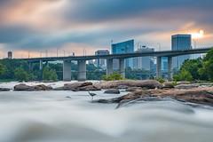 Belle Isle (Somsubhra Chatterjee) Tags: richmond rva belleisle jamesriver longexposure morning sunrise river waterscape water moody rocks bridge city