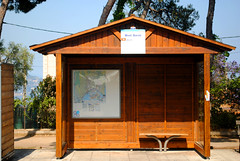 Mont Boron bus stop (zawtowers) Tags: nice france french riviera côte dazur city warm hot sunny sunshine blue sky wednesday 26th june 2019 mont boron country park east hill bus stop wooden hut number 14 downhill towards