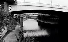 River Lea (a.pierre4840) Tags: olympus om3 zuiko 24mm f28 35mmfilm ilford ilfordhp5 hp5 hp5plus bw blackandwhite noiretblanc bridge river london england urban decay