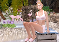 Between flamingos (Rose Sternberg) Tags: life urban baby liz face project hair for la native body head top july event cest nora lara missy second bento shorts shape uber vie genus 2019 maitreya menorquina wood crate revival pink