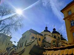 St. Michael's Church & Sun (Ladyhelen_) Tags: saintmichaels church olomouc baroko shine city vilaprimavesi baroque cupola kopule cloud clouds sky blouesky skiesofblue light words poetry poem verses