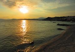 sunset over Split - from Podstrana Beach, Croatia (jeffglobalwanderer) Tags: sunset sunsetglow split croatia podstrana beach reflection water adriaticsea ocean coastline europeantravel