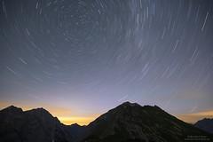 Star trails over Gamsjoch and Laliderer Falk (Bernhard_Thum) Tags: bernhardthum gamsjoch karwendel lalidererfalk sternenbahnen thum startrails nikonz7 carlzeiss milvust2818 distagonmilvus1828zf zf zf2 nature