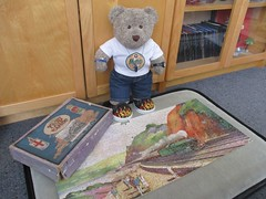All aboard - choo choo! (pefkosmad) Tags: jigsaw puzzle hobby leisure pastime wood wooden chadvalley gwr advertising thetorbayexpress painting art train incomplete secondhand vintage old greatwesternrailway tedricstudmuffin teddy ted animal toy cute cuddly plush fluffy soft stuffed