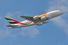 'EK79Y' (EK0030) LHR-DXB (A380spotter) Tags: takeoff departure climb climbout airbus a380 800 msn0108 a6eea opportunity expo2020dubaiuaeofficialpremierpartner decal sticker decals stickers logojet livery scheme colours orange 2018 38m longrangeconfiguration 14f76j427y الإمارات emiratesairline uae ek ek79y ek0030 lhrdxb runway09r 09r london heathrow egll lhr