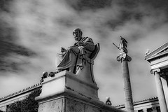 Ode to Plato - Athens (Out Of The Map) Tags: plato philosopher science athens greece statue blackandwhite absoluteblackandwhite bw black white blanc noir marble greek society western culture historical education academy aristotle urban streetphotography city europe europetrip explore texture sky classical ancient travel tripeurope summer2019
