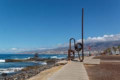 Playa Las Americas, Santa Cruz de Tenerife, Canary Islands, Spain (wildhareuk) Tags: canaryislands canon canoneos500d metal people sea seascape spain tamron18270mm tenerife tenerife2019 water artwork boardwalk rust tamron wood img9492dxo