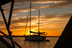 D27979E7 - Sailboat At Sunset (Bob f1.4) Tags: sunset orange sky scattered clouds over water sailboat sail boat silhouette san joaquin river california ca sacramento delta inland waterway