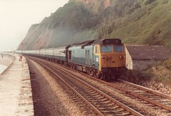50027 Teignmouth September 1982 (clivepsmithmarch1960) Tags: 50027 teignmouth seawall