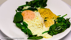 Wilted spinach, steamed egg and parmesan (garydlum) Tags: egg eggs parmesan spinach steamedegg canberra australiancapitalterritory australia