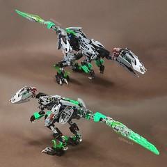 Biomechanical Velociraptor ~ Umarak '16, Lewa '16, & Creature of Jungle Combiner (Tymbal) Tags: lego bionicle velociraptor dinosaur rawr green combiner
