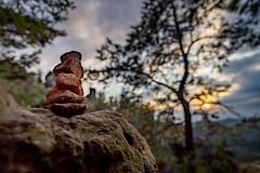 Stone on stone (aomorin) Tags: saxon switzerland saxonswitzerland sächsische schweiz sächsischeschweiz sunset samyang 20mm bokeh