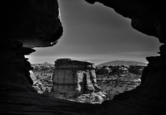 A Provincial Outline as a Portal (Black & White, Canyonlands National Park) (thor_mark ) Tags: azimuth129 bigspringcanyon blackwhite blueskies butte canyonwalls canyonlands canyonlandsnationalpark canyons capturenx2edited centralcanyonlands colorefexpro coloradoplateau confluenceoverlooktrail day4 desertlandscape desertmountainlandscape desertplantlife highdesert hiketoconfluenceoverlook hikingtrail intermountainwest landscape layersofrock lookingse mesa mesaoffindistance nature naturetrail nikond800e outside portal project365 quebeclikeshape sandstoneknobs sandstonepillars silverefexpro2 sunny thekeyhole theneedlesdistrict trail utahhighdesert utahnationalparks2017 utah itedstates
