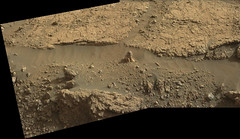 Pointy Rock in the Sand (sjrankin) Tags: 7july2019 edited panorama nasa mars msl curiosity rocks dust sand