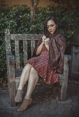 Bench for One (Luv Duck - Thanks for 16M Views!) Tags: approved genevieve brunette beautifulgirl beautifulbody plaid carmelbythesea carmel californiagirls california northerncalifornia model photoshoot naturalbeauty