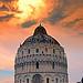 El Baptisterio de Pisa al atardecer