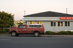 for Ever locked (Curtis Gregory Perry) Tags: aberdeen washington highway 101 ford truck pickup just married forever for ever locked realty road street wishkah red f250 canopy nikon d810 longexposure