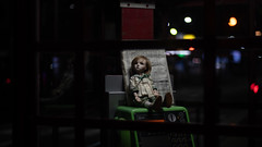 Her chair is payphone and her back is white pages. Well, who is she waiting for? (Khronos-dolls) Tags: add tag doll bisquedoll seisen seisendolls poupeeenbiscuit coinbox publicphone