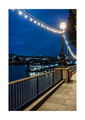 Southbank Evening (Thomas Listl) Tags: thomaslistl color london greatbritain england uk evening night blue sky lamp streetlamp fence water thames southbank 35mm lights ngc