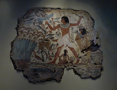 Nebamun Hunting in the Marshes (Steve Taylor (Photography)) Tags: nebamun boat marshes nile birds egyptian chapeldecoration bird loincloth mural painting man woman girl lady uk gb england greatbritain unitedkingdom london hieroglyphics britishmuseum