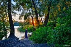 Sunset by the River (t-maker) Tags: river riverside riverfront backwater creek tributary riverbank bank beach water nature plant greenery vegetation foliage ground grass tree leaves trunk stem bole rind bark grove copse wood forest bush shrub undergrowth brushwood thicket twig branch rush reed cane duckweed tangle sky cloud reflection shadow woman summer evening sun ray beam sunset sunlight light gleam glow sheen luster brilliance magic magichour golden goldenhour waterscape landscape scenery dnieper dnipro kiev kyiv ukraine europe hdr nikon d5100