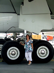 An Airbus A380 Undercarriage And My Wife For Scale (Michael Gaylard) Tags: uae dubai internationalairshow airbus a380 undercarriage 2007