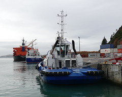 Three in a row (boeckli) Tags: newzealand portchalmers 011789 schiff fahrzeug vessel water wasser hafen harbour rx100m6 taiaroa antarcticdiscovery daiwankalon outdoor outside tug schlepper fishingvessel bulker transport