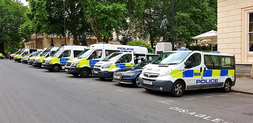 London Metropolitan Police Territorial Support Group And Crowd Control Vans