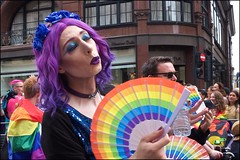 Pride London 2019 - DSCF2528a (normko) Tags: london pride parade 2019 regent street gay lesbian bi trans celebration protest rainbow purple pout lips fan