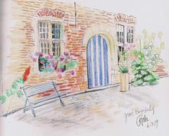 Groot Begijnhof in Leuven (CatherineHale) Tags: chskbk49 leuven wcp derwentsketchingwashpencil coloredpencil