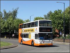 Travel de Courcey 827 (Jason 87030) Tags: alx400 dennis trident dpubledecker traveldecourcey rugby coventry midlands white orange 585 shot roadside 827 bus