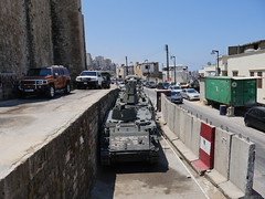 As there are regulare clashes here in Tripoli, the military is not to far away.