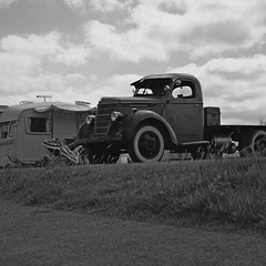 1940s International Harvester D30 (heresthething...) Tags: international truck conventional whitewalls bw 40s flatbed american monochrome patina vintage classic auto lumixg9 panasonic harvester d30
