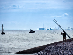 Sunday pastimes (Nevrimski) Tags: fishing sailing sea hinkley point minehead boats
