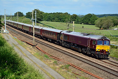 66746 1Z76 Charnock Richard (British Rail 1980s and 1990s) Tags: train rail railway loco locomotive lmr londonmidlandregion mainline wcml westcoastmainline lancs lancashire livery preston liveried traction gbrf europorte class66 66 royalscotsman gbrailfreight 66743 66746 grandtour 1z76 diesel belmond charter tour railtour passenger locohauled