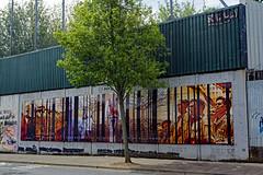 2019-06-07 06-22 Irland 205 Belfast, Cupar Way, Peace Wall (Allie_Caulfield) Tags: foto photo image picture bild flickr high resolution hires jpg jpeg geotagged geo stockphoto cc sony alpha 77 sommer summer irland ireland eire belfast city innenstadt lough historic altstadt peace wall line nordirland north mural
